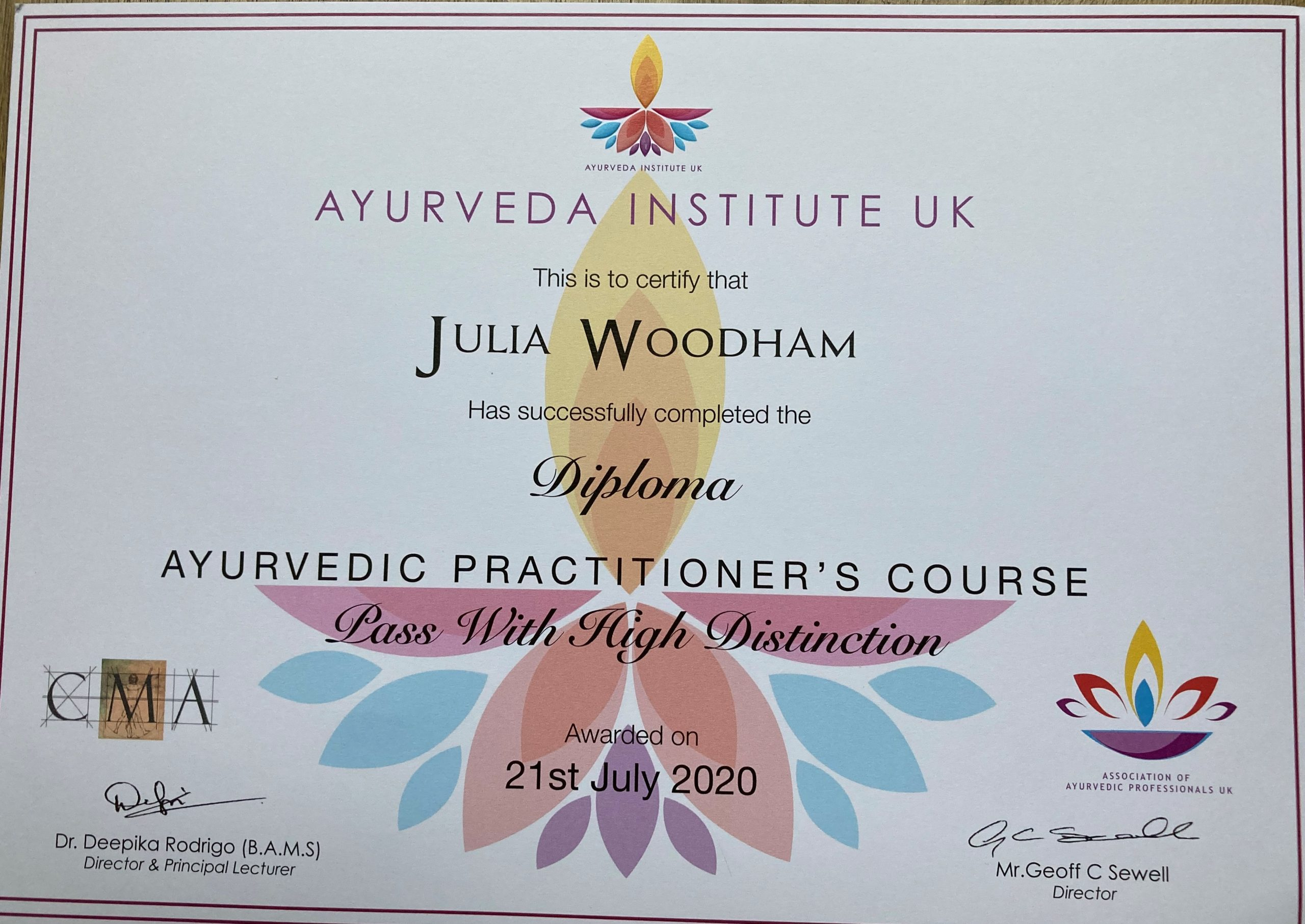 I passed my year 2 Ayurveda exams with a High Distinction